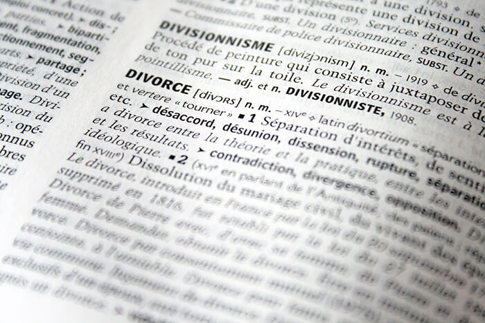 dictionary opened to divorce